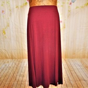 1X  Must Have Burgundy Maxi Skirt